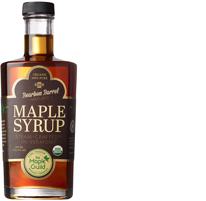 Bottle of Organic Bourbon Barrel Aged Syrup